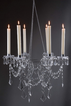 6 arm Chandelier to compliment a crystal candelabra.  Some up and some down but all are beautiful all around.